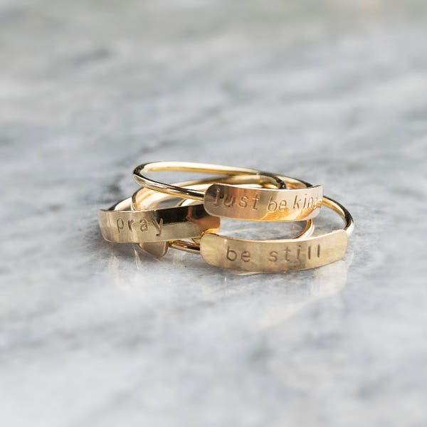 Personalized Ring Dainty Name Ring Stacking Rings Custom image 1