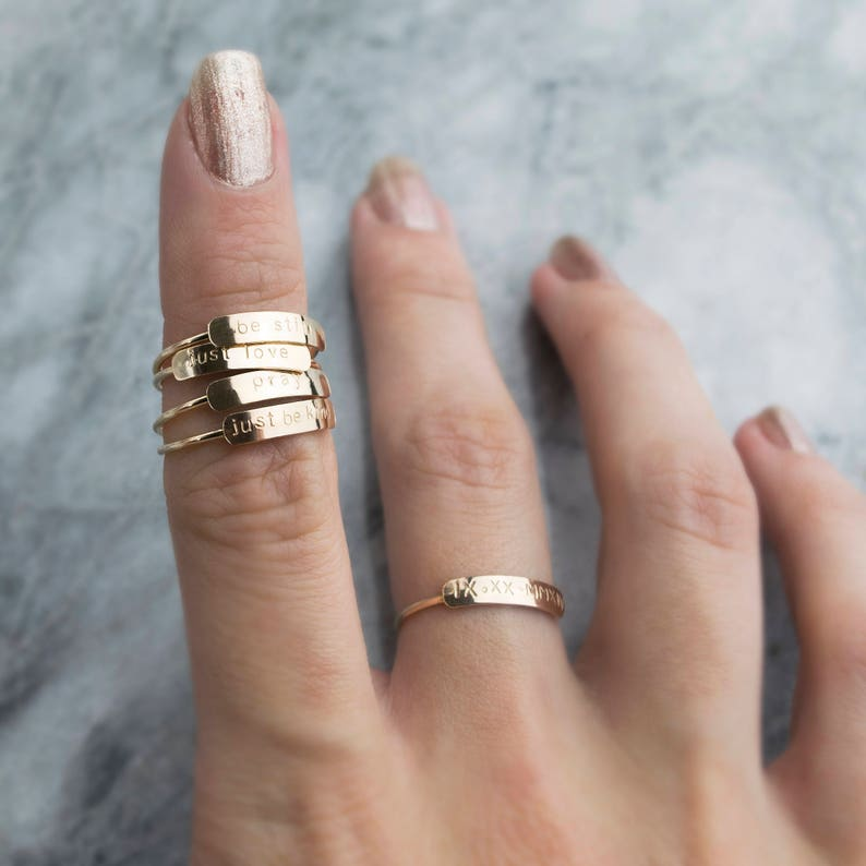 Personalized Ring Dainty Name Ring Stacking Rings Custom image 0