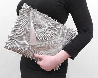 Spiral Textured Latex Clutch - snow