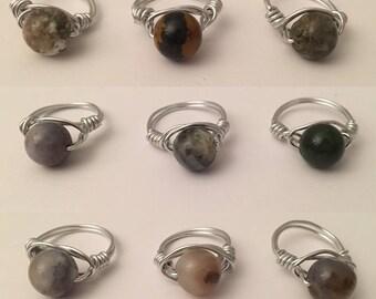 Neutral Earthtone Beaded Rings- Silver