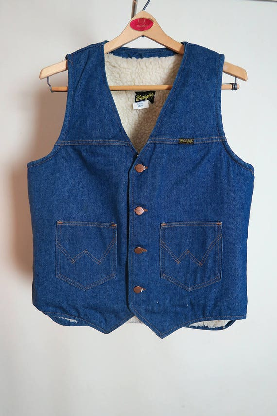 Men's Wrangler Vintage Sherpa Lined Denim Vest