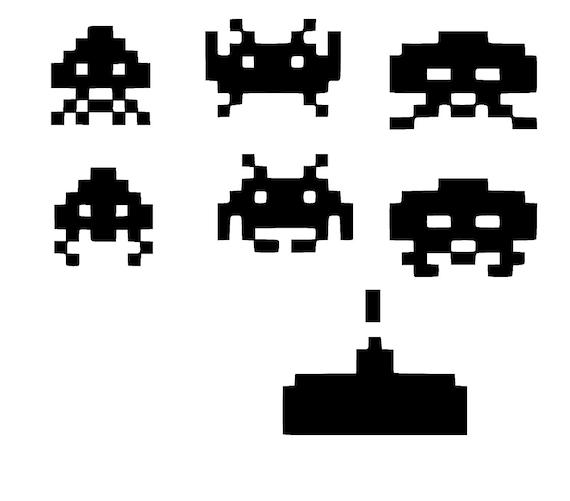 8 bit space invader inspired sticker vinyl decals car window