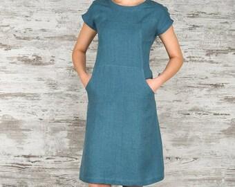 Teal blue linen dress, linen clothing, blue linen dress, summer dresses, summer clothing, linen tunic, summer fashion, linen clothes
