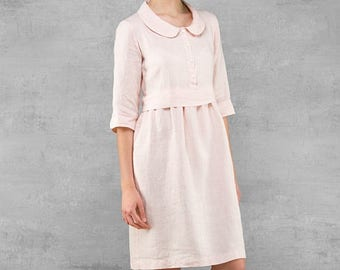 Linen dress, light rose pink pure linen dress for women, pre washed