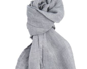 Light grey linen summer scarf, light scarf for women, soft washed linen, soft linen scarf, gift idea for mom, summer accessories