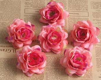 Blush Silk Flowers Heads, Peach Camellia Japonica Flower Heads (pack of 10pcs)