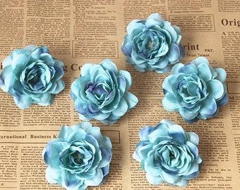 Blue Camellia Japonica, Silk Flower heads (pack of 10pcs)