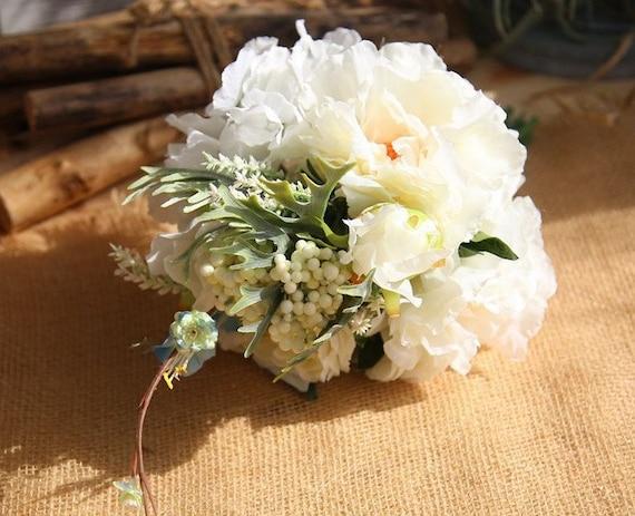 White Peony Hydrangea Bridal Bouquet White Wedding Table | Etsy