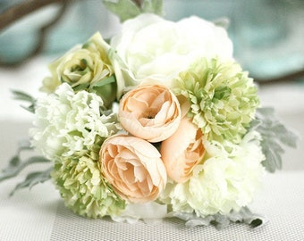 Bridal Bouquet, White Blush and Green Silk Flowers 1 Set