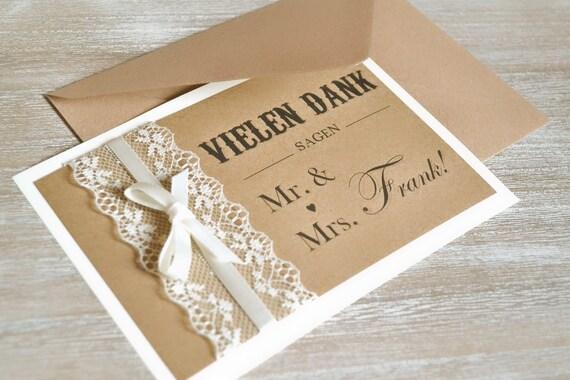 Dankeskarten Zur Hochzeit Mr Mrs Vintage Mit Spitze Und Etsy