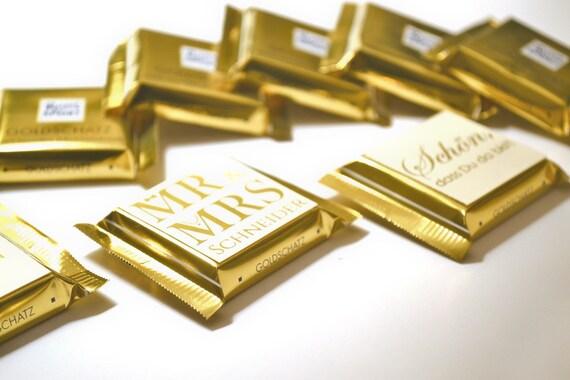 Gastgeschenke Zur Hochzeit Schokolade Quadratisch Gold Goldene Schrift Goldene Hochzeit
