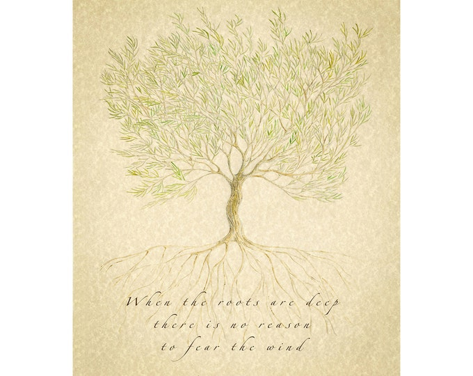 Family Tree, Family Print, Family Sign, When the Roots are Deep, Gift for Parents, Anniversary Gift, Gift for Couple, Grandparent Gift,