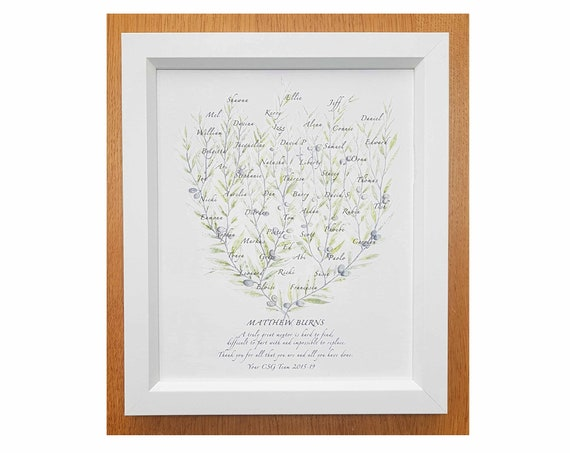 Framed Boss Mentor Teacher Retirement Gift, Colleague Leaving Present, Personalised Class Names, Custom Promotion Congratulations Corporate