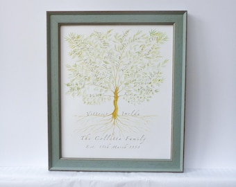 Framed Family Tree, Custom Family Tree, Fathers Day Gift, Anniversary Gift, Grandparent Gift, Personalized mum dad, Wedding Gift,