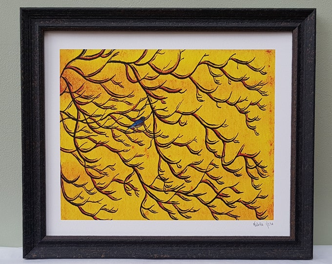 Sunset sky with bluebird sitting in tree branch.  A shabby chic framed limited editional signed pen and ink and watercolour art print.