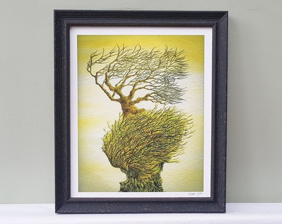 Framed Limited Edition signed print of watercolour pen ink vibrant painting of windswept tree on rugged rock. Stormy coastal abstract art