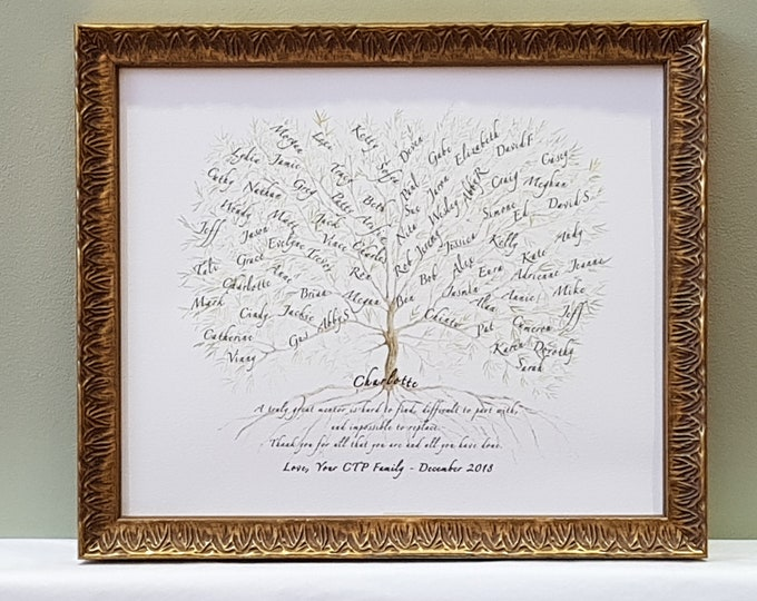 Framed Teacher Gift,Boss Retirement Print,Colleague Office Thank you,Mentor Appreciation Tree,Work goodbye personalised,Farewell Name Plaque