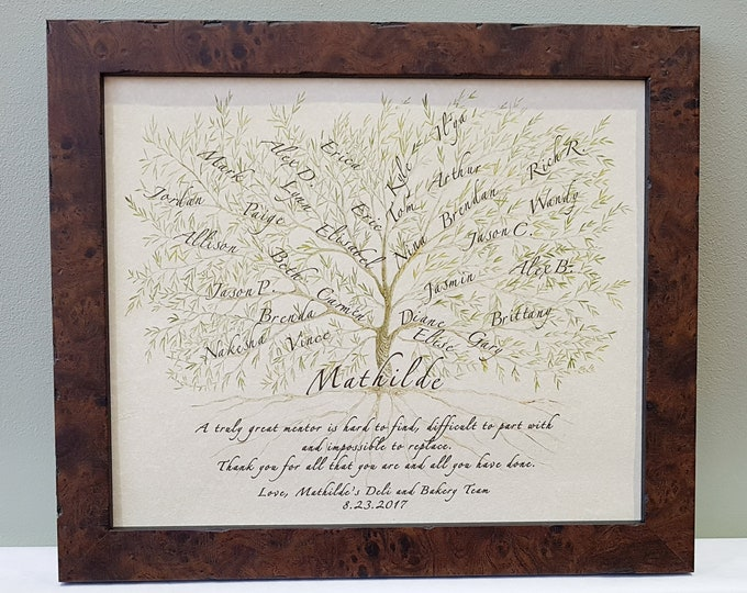 Retirement gift with colleague names, mentor boss thank you keepsake, office team gift to leader, Framed tree of names