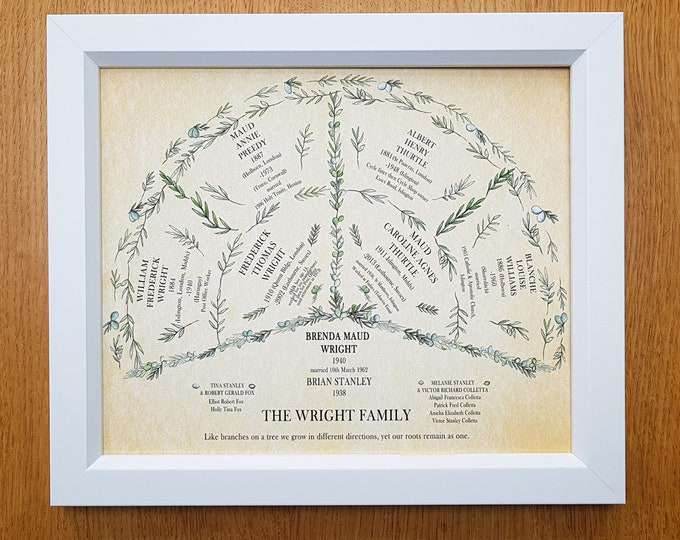 Framed Fan Chart, Personalised Family Tree, Framed Ancestry Fan  Print - Perfect Genealogy gift for Grandparents or Parents 2 generations