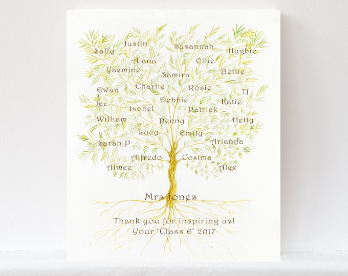 Personalised Teacher Appreciation or Custom Mentor Leaving Gift.  Colleague or Student Names in an art print for retirement or leaving gift.