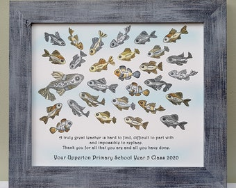 Framed Christmas thank you print with school of fish personalised with names of pupils, classmates, workmates for teacher, mentor, boss gift
