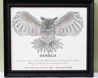 Team Leader personalised, framed gift.  Names of colleagues or coworkers to say thank you to a mentor or boss on leaving or retiring