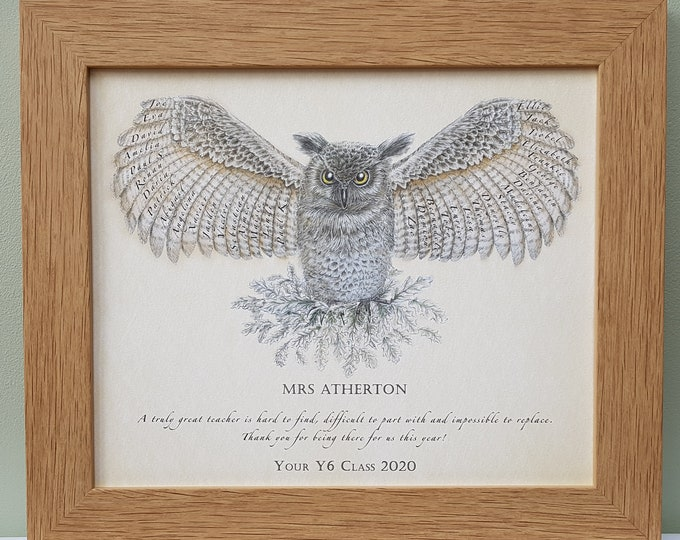 Framed Christmas Teacher Gift with names of pupils in the feathers of a wise owl.  Perfect school class present for head teacher.