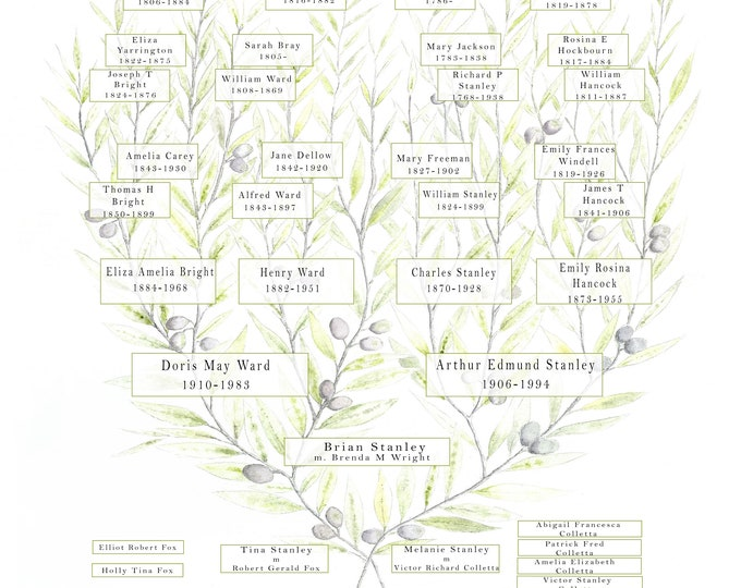 A custom chart of your family tree to celebrate members past and Present.  Featuring up to 7 generations.