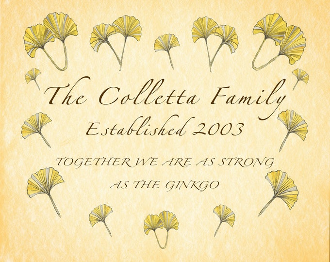 Family Name JPEG, Personalized Family Sign, Personalised Surname, Ginkgo Art, Personalised Anniversary, Parent Grandma Custom Gift,