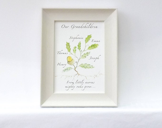 From Little Acorns Mighty Oaks Grow.  A perfect gift to celebrate a New Baby or a gift for the proud Grandparents.