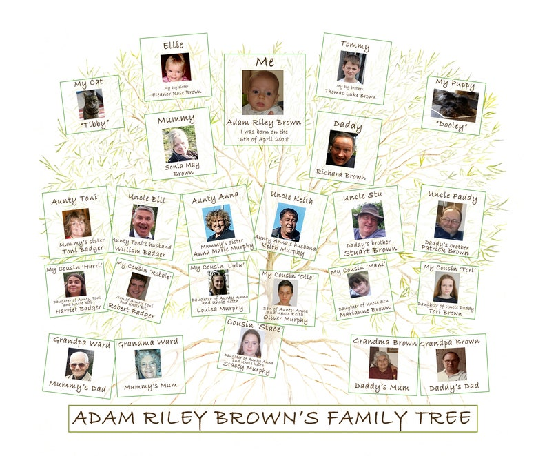 Family Tree for Child. A custom print of baby ancestry perfect image 0