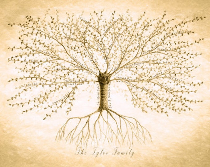 JPEG ONLY, Personalised Family Tree, Custom Family Tree, Gift for Mum, Grandparent Gift, Anniversary Gift, Ancestry Tree, Gift for Boss
