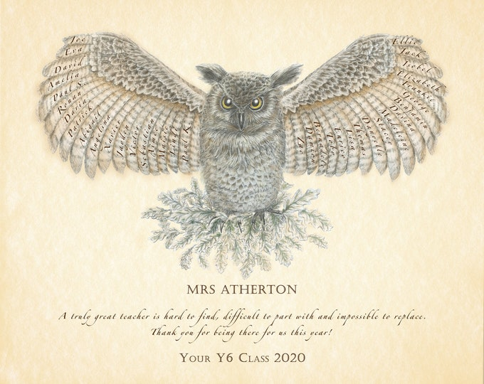 Wise Owl Personalised Teacher or Mentor Print, Gift with class or colleague names.  Retirement or Appreciation Owl art.