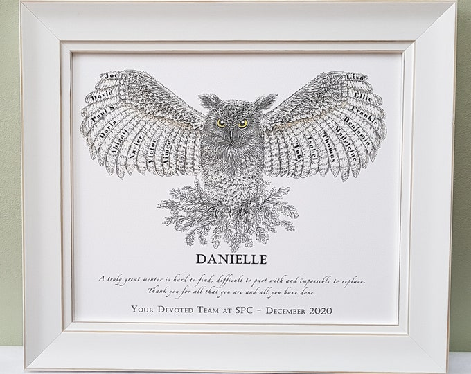 Framed appreciation, thank you, retirement gift for Teacher, Leader, Mentor or coworker with Team, pupil, class names.