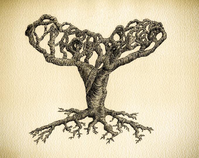 Abstract Art Print, Abstract Tree Art, Pen and Ink Tree, Sepia Wall Art, Signed Tree Art,  Hallelujah Tree Art, Twisted Tree Print,
