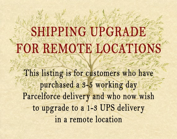 US SHIPPING UPGRADE for Family Tree Framed Prints - Upgrade to a 1-3 day service for a remote location