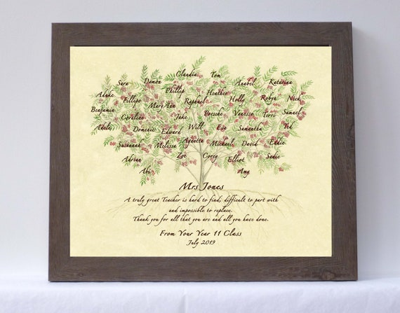 Framed leaving gift for teacher, colleague, mentor or boss featuring fellow workers or students names within branches of a Rowan tree.
