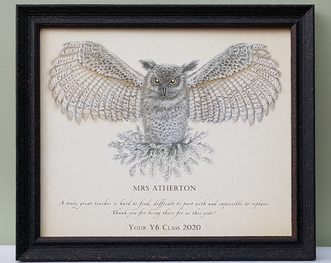 Framed wise owl gift personalised with names of colleagues, classmates, coworkers as a retirement or team gift for boss, mentor, teacher
