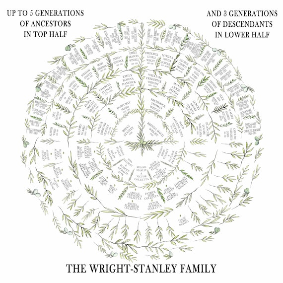 Circular Ancestry Fan Chart, Personalised Family Tree Print, Custom Genealogy Tree, Family Name Gift for Parents, Bespoke Grandparent Gift