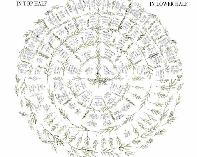 Circular Ancestry Fan Chart, Personalised Family Tree Print, Custom Genealogy Tree, Family Name Gift for Parents, Bespoke Grandparent Gift