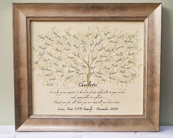 Personalised Framed Gift for Colleague, Mentor, Boss or Teacher on the occasion of a retirement, promotion, leaving or general 'Thank you'