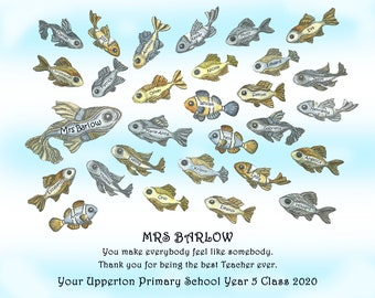 Personalised print with teacher and student names as appreciation, retirement, thank you gift.  School of fish with pupil names.