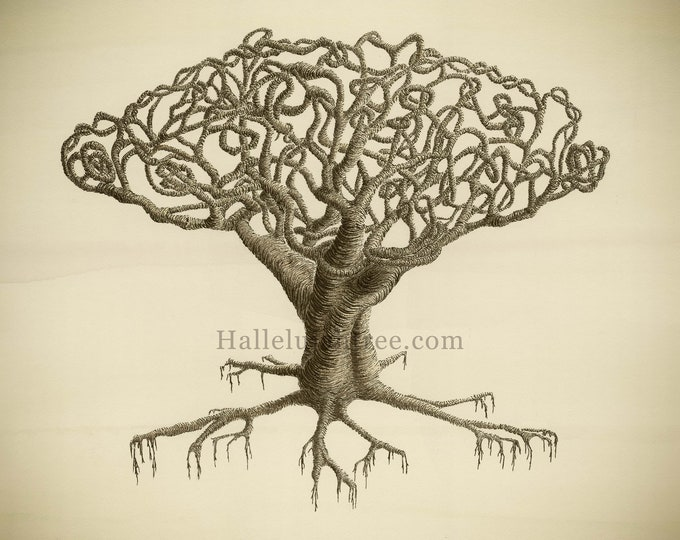 Giclee print of watercolour and pen and ink artwork featuring an abstract tree with tangled, twining branches in sepia