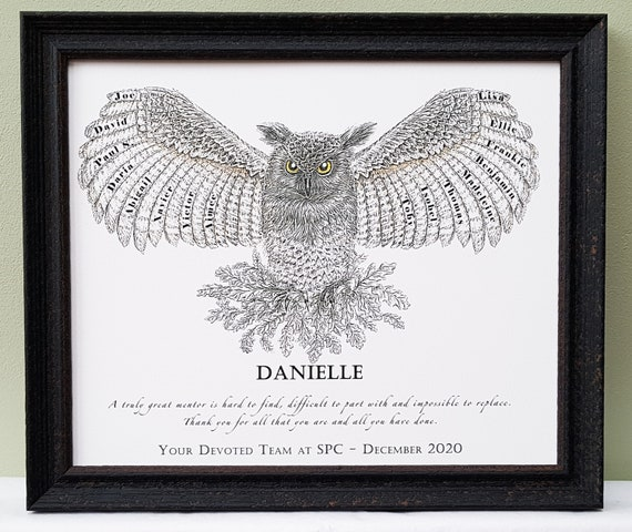 Names of pupils, classmates, team, coworkers in personalised wise owl framed print for a teacher, mentor, leader or colleague.