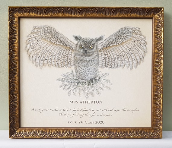 Teacher Appreciation framed wise owl print personalised with class pupil names.  Retirement, graduation, class of 2020 christmas gift