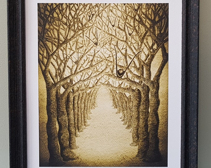 Sepia Framed Print of tunnel of trees artwork with birds flying.  Dystopian art in watercolours, pen and ink. Limited Edition Signed Print.