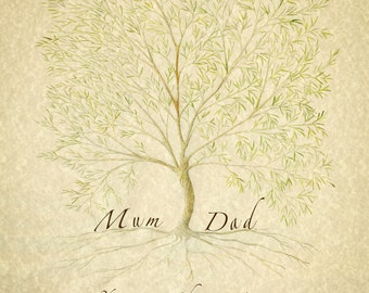 Family Tree Parents, Gift for Parents, Personalised Parent Gift, Family Tree Print, Gift for Mother, Anniversary Parents, Ancestry Print,