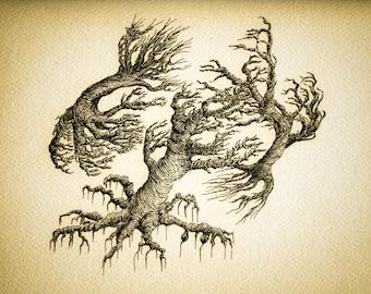 windswept tree print, abstract tree art, sepia tree print, signed tree art, pen ink trees, pen ink drawing, blank ink art, abstract botanic