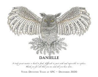 Owl personalised art print for retirement, appreciation or thank you gift for beloved teacher, mentor or leader featuring names of pupils.