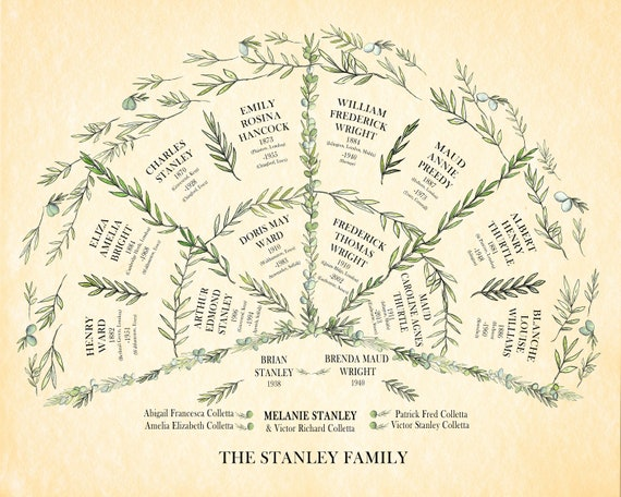 Personalised Ancestral Fan Chart Print for up to 5 generations of ancestors or descendants.  Custom Geneaolgy Tree with family names